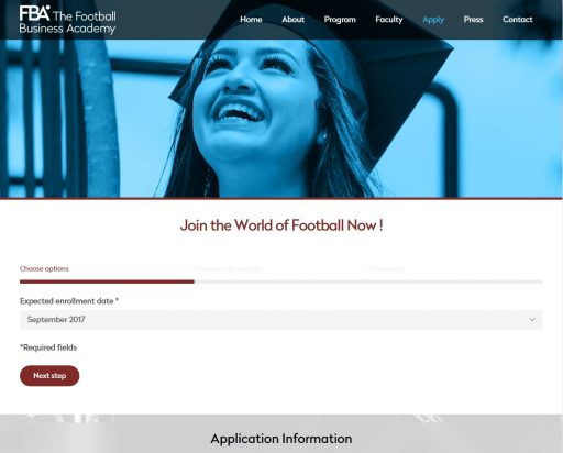 the football business academy - Apply wordpress