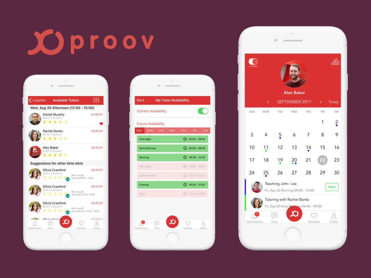 Proov Mobile application for Tutoring