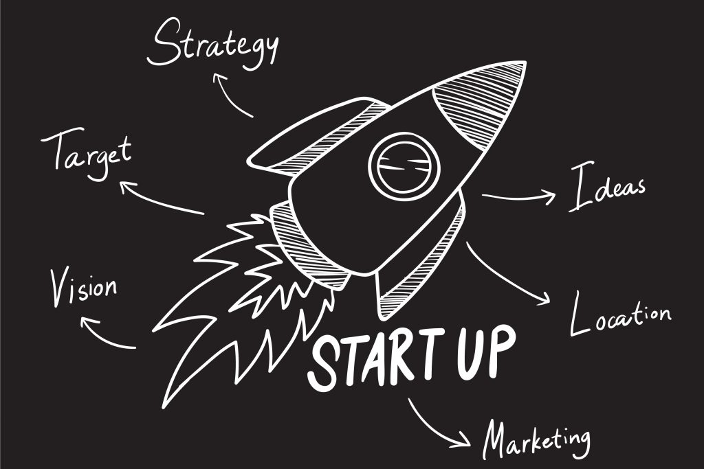 Startup words illustration