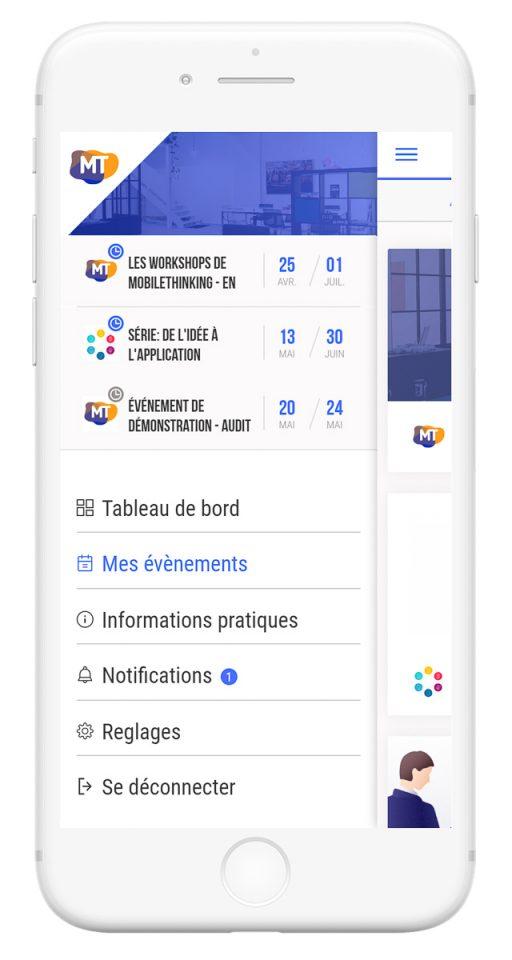 Outils de gestion et diffusion de vos événements professionnels - app mobile menu