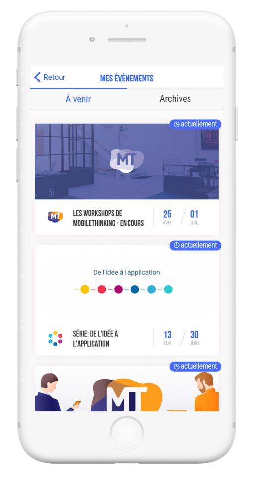 Outils de gestion et diffusion de vos événements professionnels - app mobile dashboard