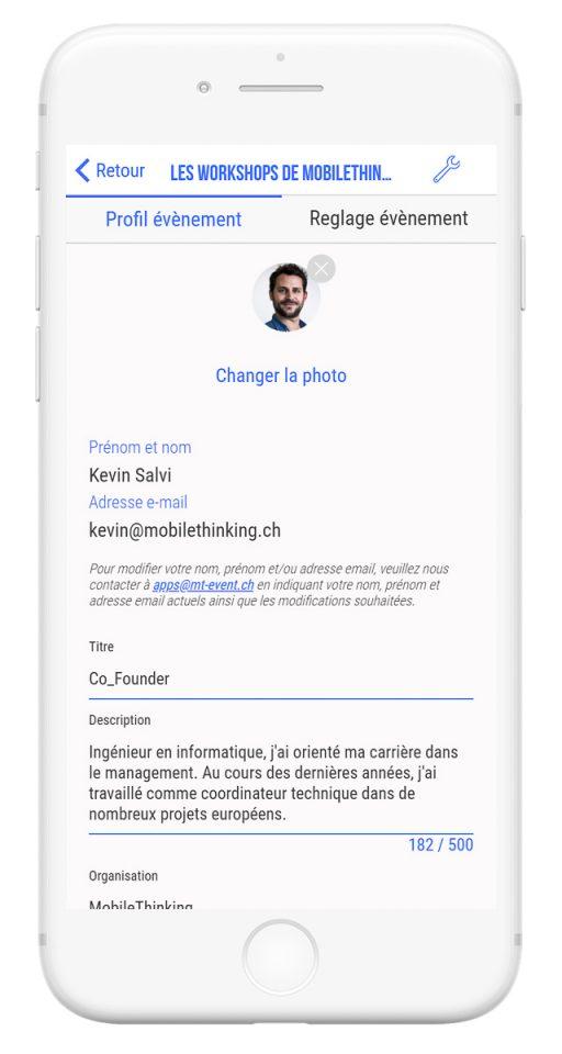 Outils de gestion et diffusion de vos événements professionnels - app mobile profil participants