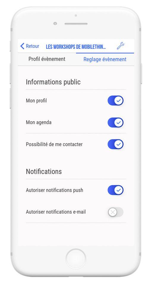 Outils de gestion et diffusion de vos événements professionnels - app mobile réglages