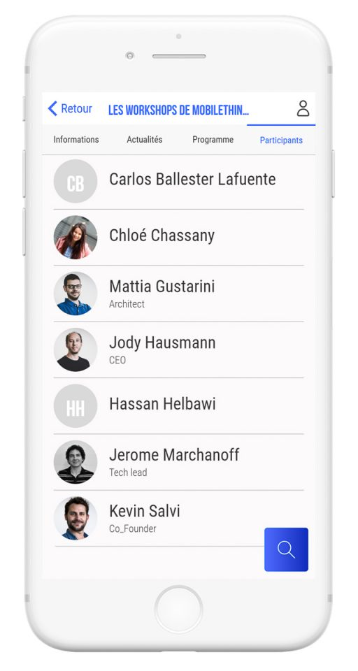 Outils de gestion et diffusion de vos événements professionnels - app mobile liste des participants