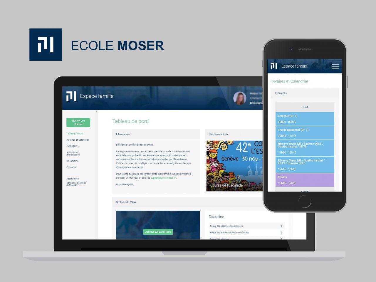 Ecole Moser - Espace famille - Vue desktop - Portfolio