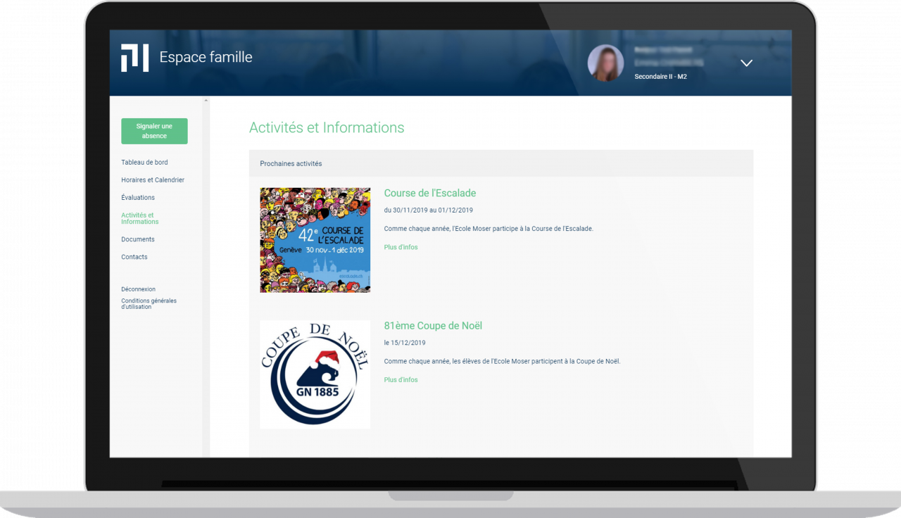 Ecole Moser - Espace famille - Vue desktop - Activités