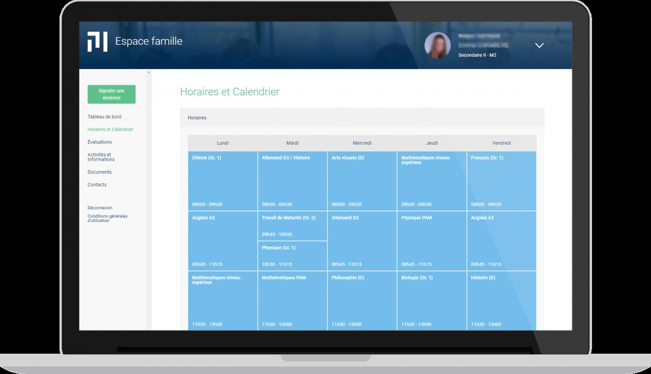 Ecole Moser - Espace famille - Vue desktop - Agenda
