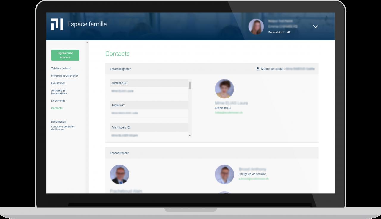 Ecole Moser - Espace famille - Vue desktop - Contact