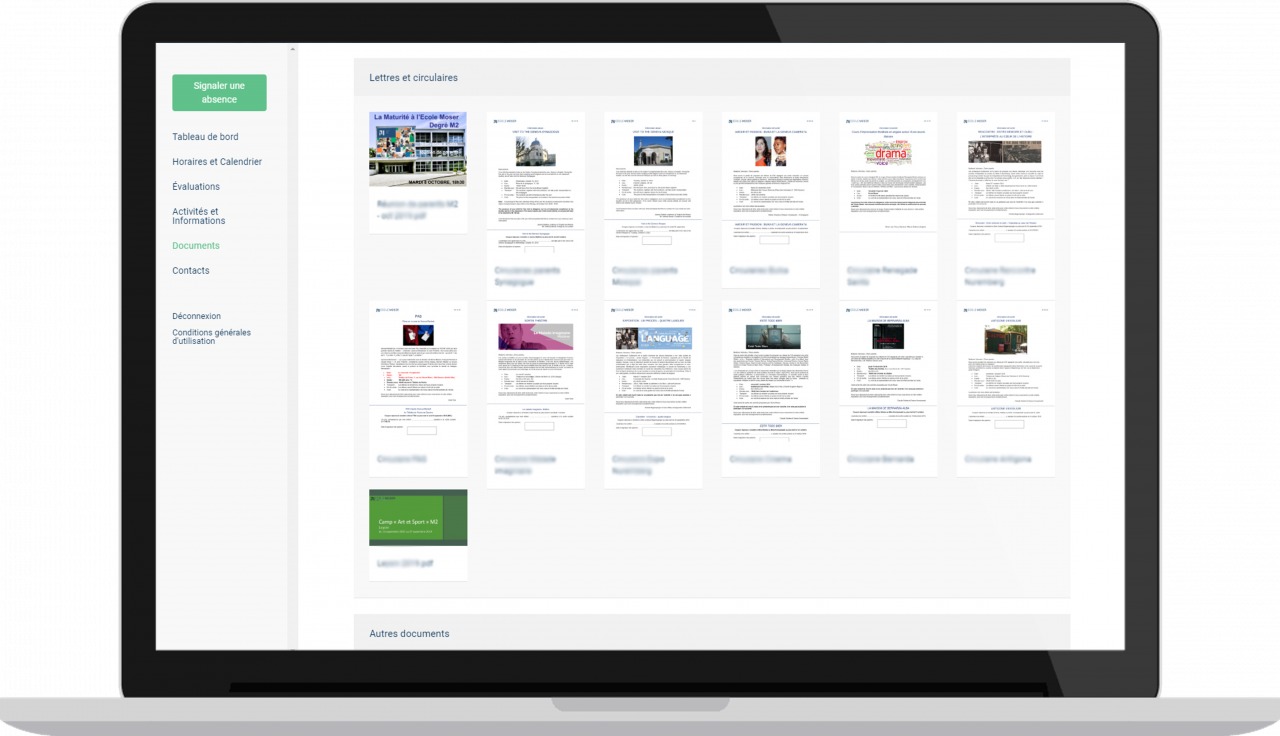 Ecole Moser - Espace famille - Vue desktop - Documents