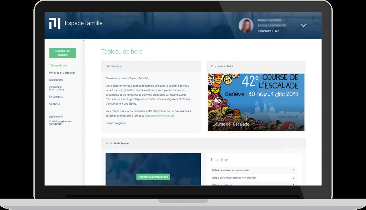 Ecole Moser - Espace famille - Vue desktop - Accueil