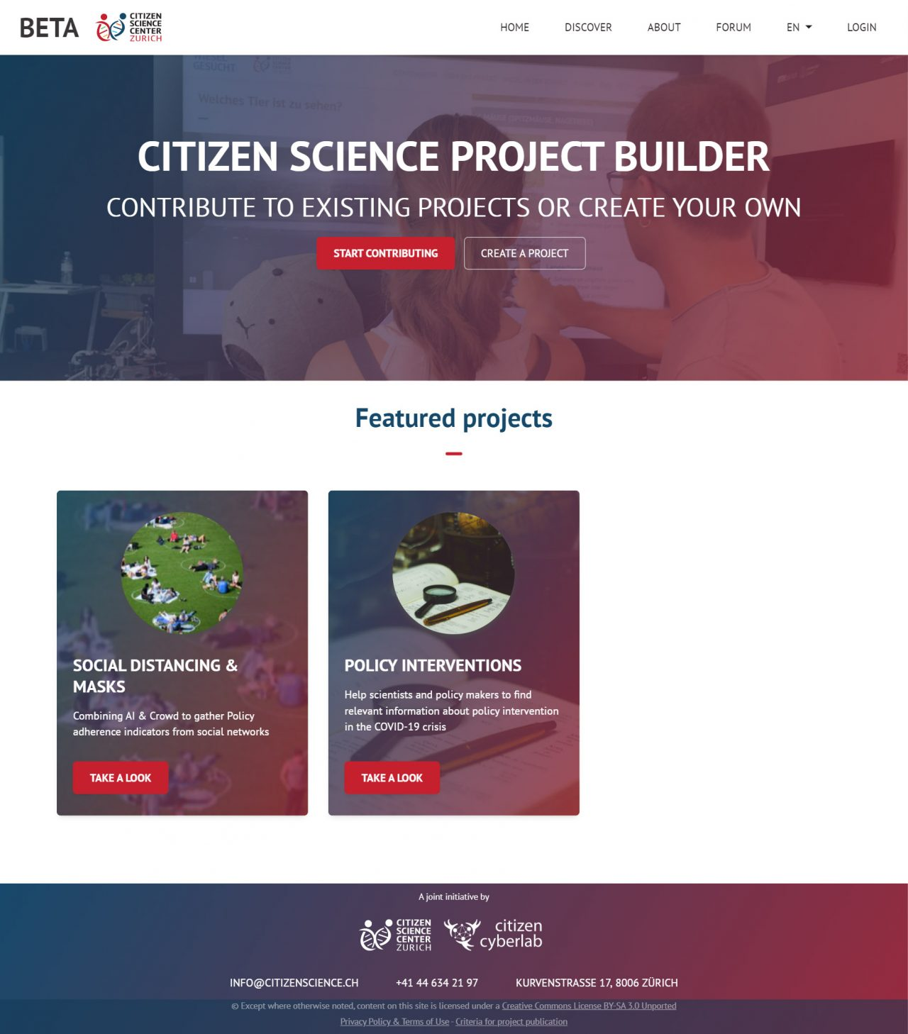 lab.citizenscience.ch Home page